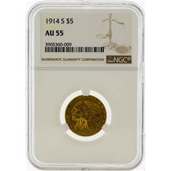 1914-S $5 Indian Head Half Eagle Gold Coin NGC AU55