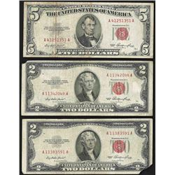Lot of (2) 1953 $2 and (1) 1953 $5 Legal Tender Notes