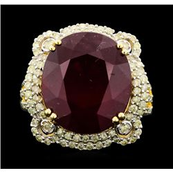 14KT Yellow Gold 16.70ct Ruby and Diamond Ring