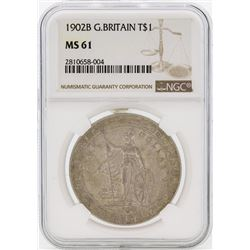 1902B $1 Great Britain Trade Dollar Coin NGC MS61