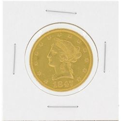 1847 No Motto $10 Liberty Head Eagle Gold Coin