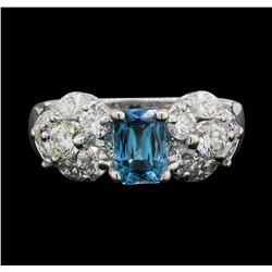 18KT White Gold 1.80ct Blue Zircon and Diamond Ring