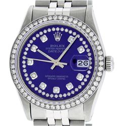 Mens Rolex Stainless Steel Purple String Diamond Datejust Wristwatch