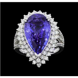 Platinum 11.44ct GIA Certified Tanzanite and Diamond Ring