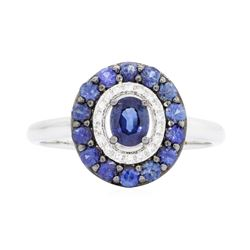 14KT White Gold 1.07ctw Sapphire and Diamond Ring