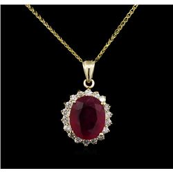 14KT Yellow Gold 7.61ct Ruby and Diamond Pendant With Chain