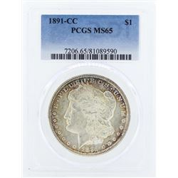 1891-CC $1 Morgan Silver Dollar Coin PCGS MS65