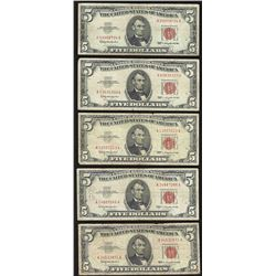 Lot of (5) 1963 $5 Legal Tender Notes