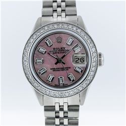 Rolex Ladies Stainless Steel 1.00ctw Diamond Datejust Wristwatch