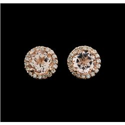 14KT Rose Gold 1.54ctw Morganite and Diamond Earrings