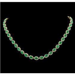 14KT Yellow Gold 19.60ctw Emerald and Diamond Necklace