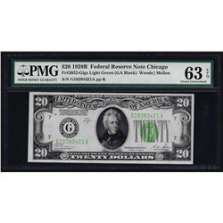 1928B $20 Federal Reserve Note Chicago Light Green Seal Choice Uncirculated PMG