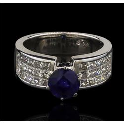 18KT White Gold 1.61ct Blue Sapphire and Diamond Ring