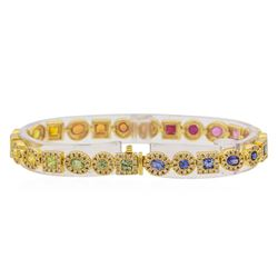 14KT Yellow Gold 5.11ctw Multi Color Sapphire and Diamond Bracelet