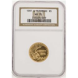 1991-W $5 Rushmore Commemorative Gold Coin NGC MS70