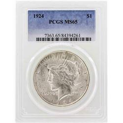 1924 $1 Peace Silver Dollar PCGS MS65