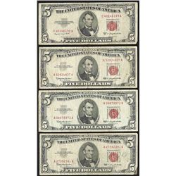 Lot of (4) 1963 $5 Legal Tender Notes