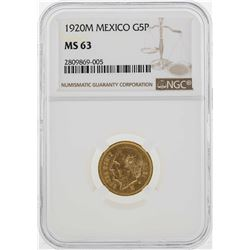 1920-M Mexico 5 Peso Gold Coin NGC MS63