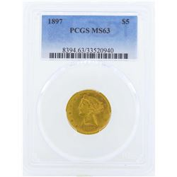 1897 $5 Liberty Head Half Eagle Gold Coin PCGS MS63
