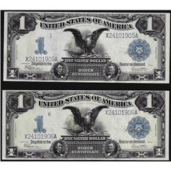Lot of (2) Consecutive 1899 $1 Black Eagle Silver Certificate Notes
