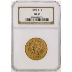 1896 $10 Liberty Head Eagle Gold Coin NGC MS63