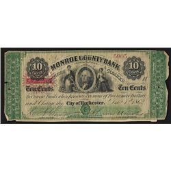 1862 Monroe County Bank New York 10 Cents Obsolete Note w/ Personal Message on B