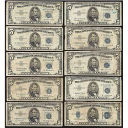 Lot of (10) 1953 $5 Silver Certificate Notes