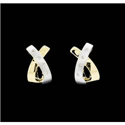14KT Yellow and White Gold Ladies 0.20ctw Diamond Earrings