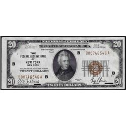 1929 $20 The Federal Reserve Bank of New York National Currency Note
