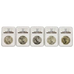 Lot of (5) 1922 $1 Peace Silver Dollar Coins NGC MS63