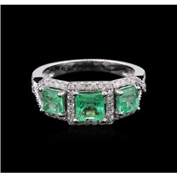 14KT White Gold 1.40ctw Emerald and Diamond Ring