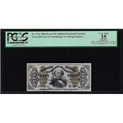 Fifty Cent Third Issue Fractional Currency Note PCGS VF35 Courtesy Auto of A.U.
