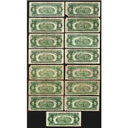 Lot of (15) 1928 $2 Legal Tender Notes