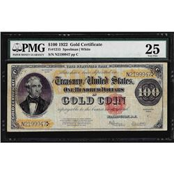 1922 $100 Gold Certificate Note Fr. 1215 PMG Very Fine 25
