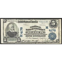 1902 $5 National Bank of Commerce St. Louis National Currency Note