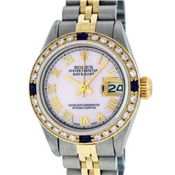 Rolex Ladies 2T Pink MOP Roman Sapphire And Daimond Datejust Wristwatch