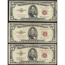 Lot of (3) 1953 $5 Legal Tender Notes