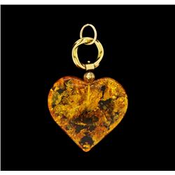 Amber Pendant and Bracelet - 18KT Yellow Gold