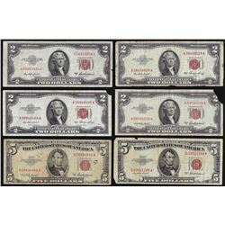Lot of (4) 1953 $2 and (2) 1953 $5 Legal Tender Notes