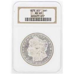 1878 8TF $1 Morgan Silver Dollar Coin NGC MS65