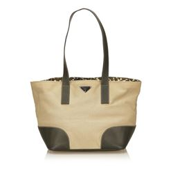 Prada Beige Tan Canvas Olive Green Leather Tote Shoulder Bag