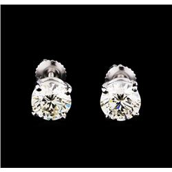 EGL Cert 3.01 ctw Diamond Stud Earrings - 14KT White Gold