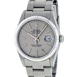 Rolex Mens SS Slate Grey Index Dial White Gold Fluted Oyster Band Datejust Wrist