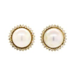 2.00 ctw Diamond and Mabe Pearl Earrings - 14KT Yellow Gold