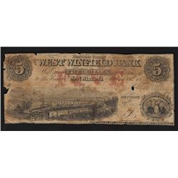 1800's $5 West Winfield Bank Obsolete Bank Note