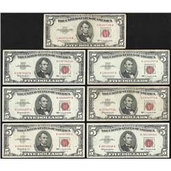 Lot of (7) 1953 & 1963 $5 Legal Tender Notes