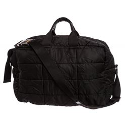 Prada Black Quilted Nylon Leather Double Handle Duffle Travel Bag