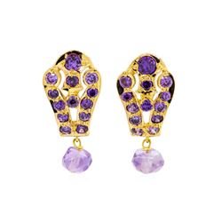 2.00 ctw Amethyst Earrings - 18KT Yellow Gold