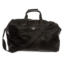 Prada Black Nylon Leather Double Handle Duffle Travel Bag