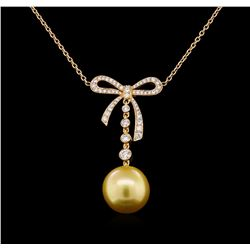 Pearl and Diamond Necklace - 18KT Yellow Gold